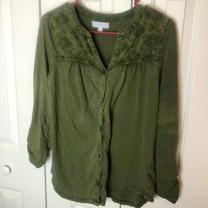 🌼New Directions Green Blouse Size M🌼